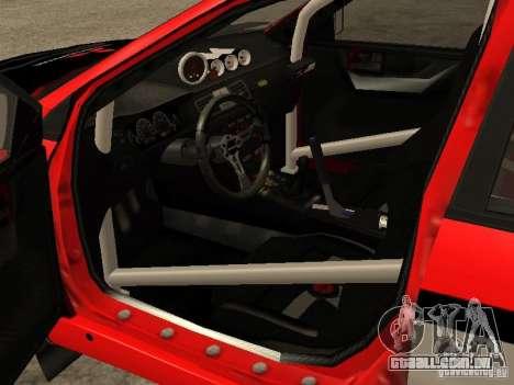 Mitsubishi Lancer Evo IX DiRT2 para GTA San Andreas vista interior