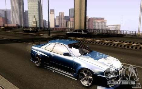 Nissan Skyline GT-R34 para GTA San Andreas vista traseira
