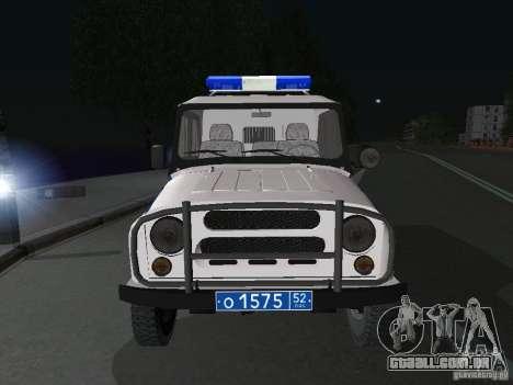 UAZ-31512 polícia para GTA San Andreas vista traseira