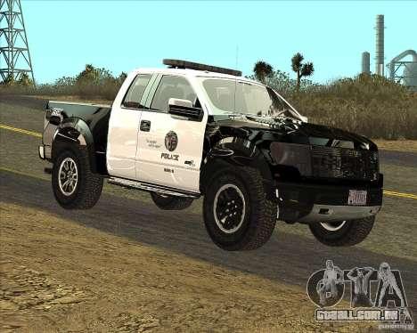 Ford Raptor Police para GTA San Andreas esquerda vista