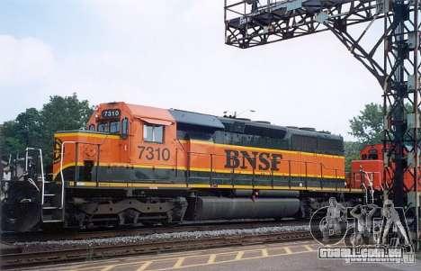 Locomotiva SD 40 da União do Pacífico BNSF para GTA San Andreas vista traseira