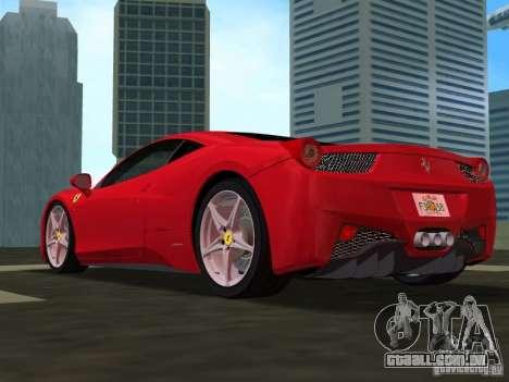 Ferrari 458 Italia para GTA Vice City vista traseira