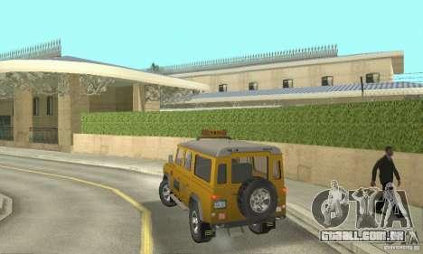 Land Rover Defender 110SW Taxi para GTA San Andreas esquerda vista