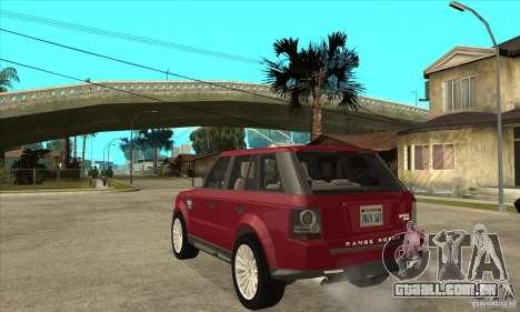 Land Rover Range Rover Sport HSE para GTA San Andreas traseira esquerda vista