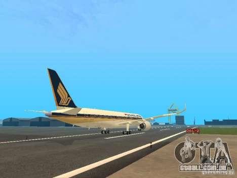 Airbus A350-900 Singapore Airlines para GTA San Andreas vista direita