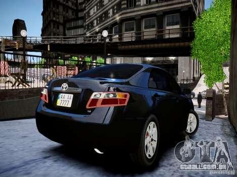 Toyota Camry para GTA 4 traseira esquerda vista