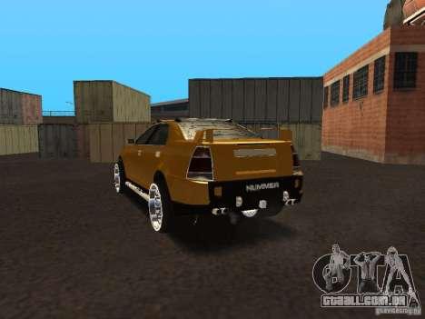 Hummer H0 para GTA San Andreas traseira esquerda vista
