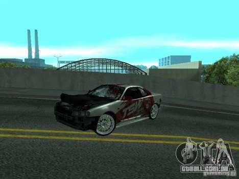 Nissan Skyline R 34 para GTA San Andreas vista interior