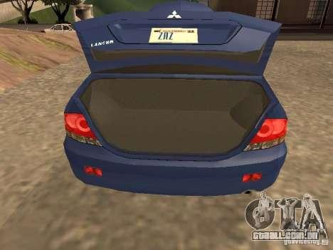 Mitsubishi Lancer 1.6 para GTA San Andreas vista traseira