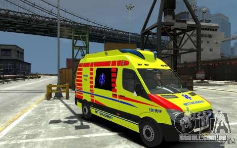 Mercedes-Benz Sprinter 2011 Ambulance para GTA 4 vista de volta
