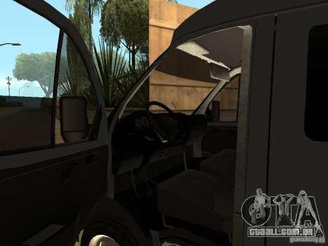 Gazela 2705 negócios para GTA San Andreas vista interior