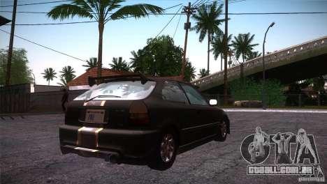 Honda Civic Tuneable para vista lateral GTA San Andreas