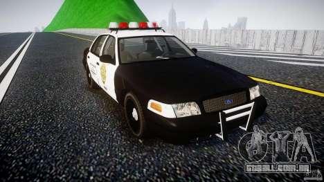 Ford Crown Victoria Raccoon City Police Car para GTA 4 vista de volta