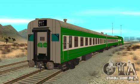 THE GO Transit Train para GTA San Andreas traseira esquerda vista