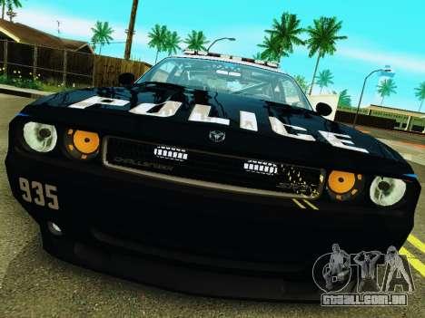 Dodge Challenger SRT8 2010 Police para GTA San Andreas esquerda vista