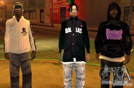 Bandas de substituição, tatuagens, roupas, etc. para GTA San Andreas quinto tela