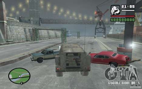 Caminhão militar para GTA San Andreas vista interior