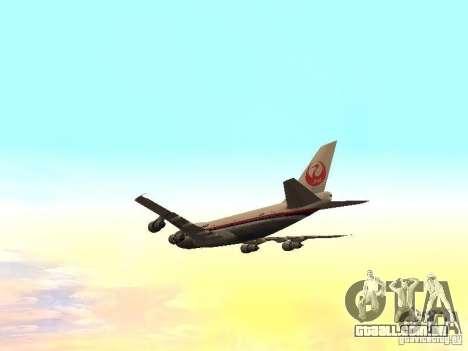 Boeing 747-100 Japan Airlines para vista lateral GTA San Andreas