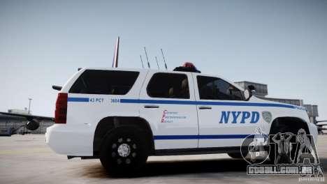 Chevrolet Tahoe 2012 NYPD para GTA 4 traseira esquerda vista