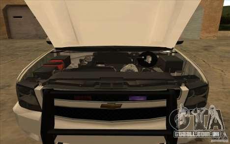 Chevrolet Avalanche Orange County Sheriff para GTA San Andreas traseira esquerda vista