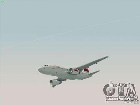 Airbus A319-112 Swiss International Air Lines para GTA San Andreas traseira esquerda vista