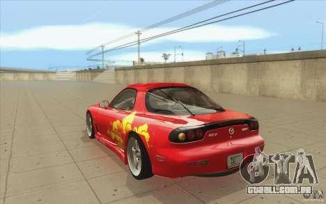 Mazda RX-7 - FnF2 para GTA San Andreas traseira esquerda vista
