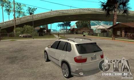 BMW X5 E70 Tuned para GTA San Andreas traseira esquerda vista