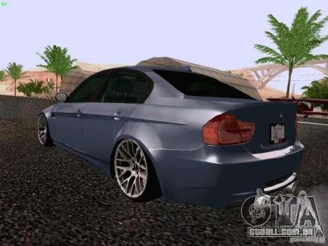 BMW M3 E90 Sedan 2009 para GTA San Andreas traseira esquerda vista