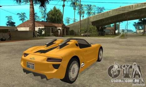 Porsche 918 Spyder para GTA San Andreas vista direita