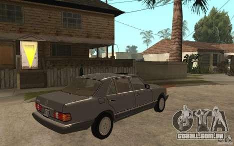 Mercedes Benz W126 560 1990 para GTA San Andreas vista direita