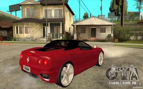 Ferrari 360 Spider para GTA San Andreas vista direita