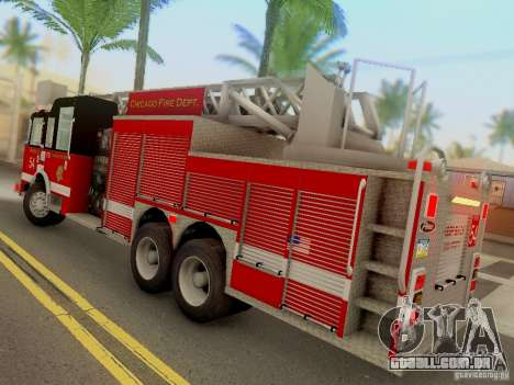 Pierce Tower Ladder 54 Chicago Fire Department para GTA San Andreas traseira esquerda vista