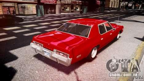 Dodge Monaco 1974 stok rims para GTA 4 vista lateral