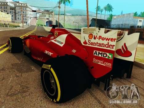 Ferrari F2012 para GTA San Andreas traseira esquerda vista
