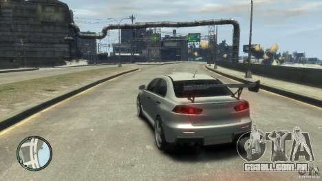 Mitsubishi Lancer Evo X Drift para GTA 4 vista de volta