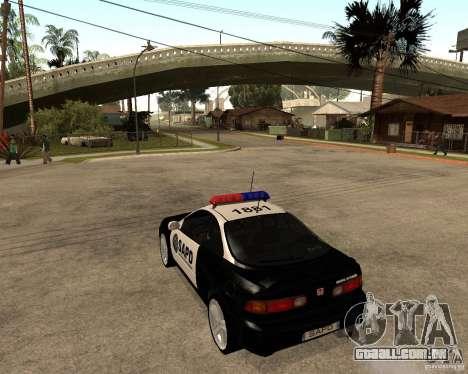 Honda Integra 1996 SA POLICE para GTA San Andreas traseira esquerda vista
