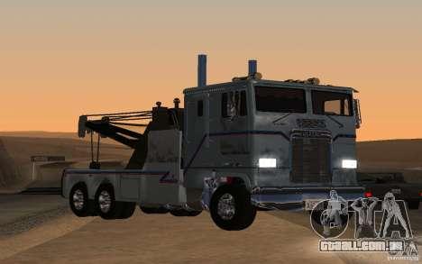 Kenworth K100 Towtruck para GTA San Andreas traseira esquerda vista