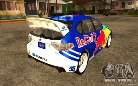 Novos vinis para Subaru Impreza WRX STi para GTA San Andreas traseira esquerda vista