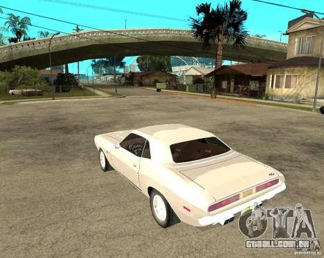 Dodge Challenger R/T Hemi 70 para GTA San Andreas esquerda vista