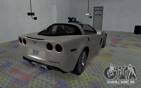 Chevrolet Covette Z06 para GTA San Andreas traseira esquerda vista