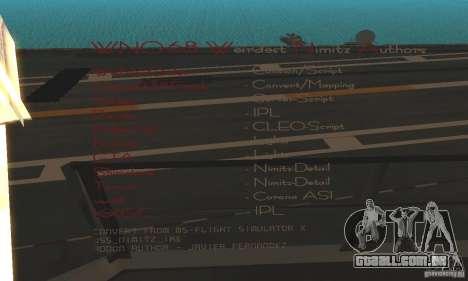 CVN-68 Nimitz para GTA San Andreas segunda tela