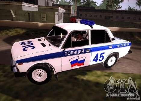 VAZ 2106 polícia v 2.0 para GTA San Andreas esquerda vista