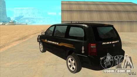 Dodge Caravan Sheriff 2008 para GTA San Andreas traseira esquerda vista