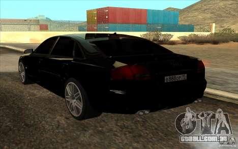 Audi A8l W12 6.0 para GTA San Andreas esquerda vista