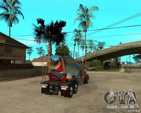 Kenworth W900 CEMENT TRUCK para GTA San Andreas traseira esquerda vista