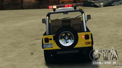 Jeep Wrangler 1988 Beach Patrol v1.1 [ELS] para GTA 4 vista superior