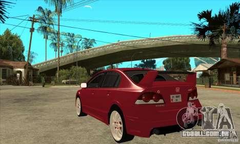Honda Civic Mugen RR para GTA San Andreas traseira esquerda vista
