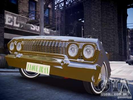 Chevrolet Impala 63 para GTA 4 vista direita