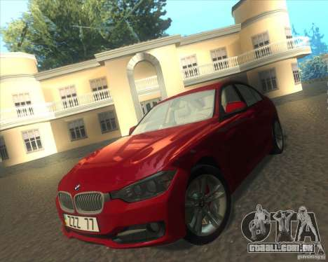 BMW 3 Series F30 2012 para GTA San Andreas vista interior