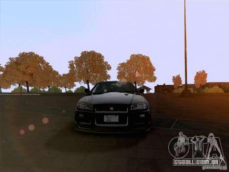 Nissan Skyline GTR R34 para GTA San Andreas vista traseira